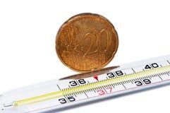 термометр евро цента медицинский Стоковые Изображения