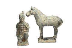 Терракотовые ратники с лошадью старым фарфором Стоковые Изображения