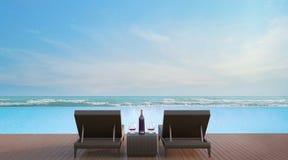 Терраса бассейна с изображением перевода вида на море 3d Стоковые Изображения