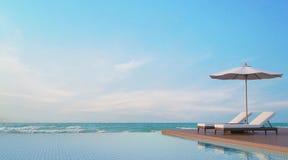 Терраса бассейна с изображением перевода вида на море 3d Стоковая Фотография RF