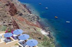Терраса в Santorini стоковые фотографии rf