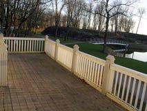 терраса захода солнца деревянная Стоковые Фото