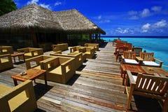 Терраса Мальдивы бара пляжа Стоковое Изображение
