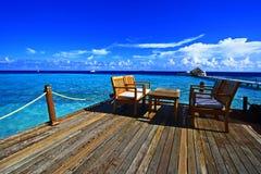 Терраса Мальдивы бара пляжа Стоковая Фотография