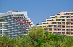 Террасные здания Дэн Eilat и королевских гостиниц пляжа Стоковая Фотография