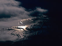 Террасы риса yuanyang на ноче Стоковые Фото