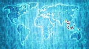 Территория АСЕАН на карте мира Стоковое Изображение RF