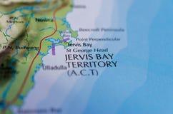 Территория залива Jervis на карте стоковое изображение rf