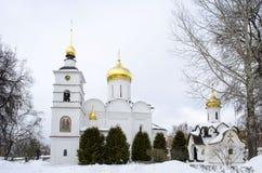 Территория предпосылки зимы зоны Dmitrov Кремля Москвы стоковое фото rf