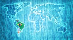 Территория Mercosur на карте мира Стоковая Фотография RF