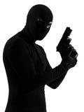 Террорист похитителя уголовный держа портрет пушки Стоковое Изображение RF