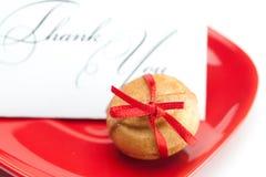 тесемка гайки карточки торта благодарит вас Стоковые Изображения RF