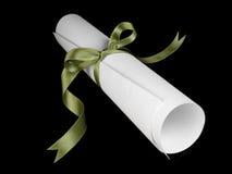 тесемка диплома зеленая Стоковая Фотография