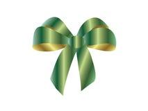 тесемка зеленого цвета золота смычка глянцеватая Стоковые Изображения