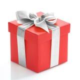 тесемка красного цвета золота подарка коробки Стоковые Изображения RF