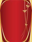 тесемка красного цвета золота предпосылки Стоковая Фотография