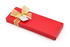 тесемка красного цвета золота подарка коробки Стоковое фото RF