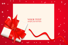 тесемка красного цвета коробки смычка Стоковое Изображение RF