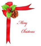 тесемка красного цвета падуба рождества смычка граници ягоды Стоковое Изображение