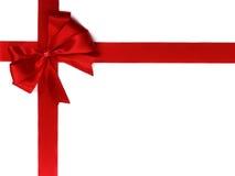 тесемка красного цвета подарка смычка Стоковое Изображение