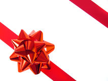 тесемка красного цвета подарка смычка Стоковые Фотографии RF