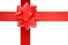 тесемка красного цвета подарка смычка Стоковые Изображения