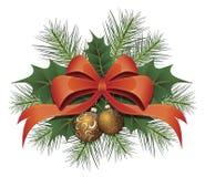 тесемка красного цвета рождества смычка Стоковое Изображение