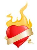 тесемка красного цвета сердец пожара лоснистая Иллюстрация штока