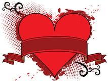 тесемка красного цвета сердца знамени Стоковое Изображение
