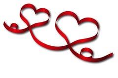 тесемка красного цвета сердца Стоковые Изображения