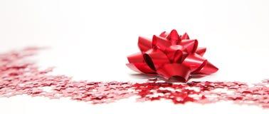 тесемка красного цвета украшения рождества Стоковое Фото