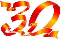 тесемка красного цвета 30 номеров Стоковая Фотография RF