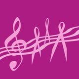 тесемка нот розовая Стоковые Изображения