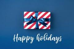 тесемка подарка голубой коробки Стоковое Фото