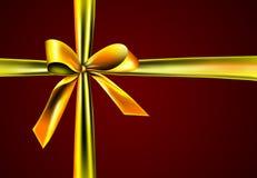 тесемка подарка золотистая Стоковая Фотография