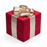 тесемка подарка коробки золотистая красная Стоковые Фото