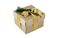 тесемка подарка коробки золотистая Стоковое Изображение