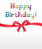 тесемка смычка дня рождения счастливая Стоковые Изображения RF