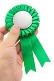 тесемки зеленого цвета значка пожалования Стоковые Фото
