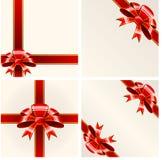 тесемки красного цвета смычка Стоковые Фотографии RF