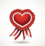 тесемки красного цвета ярлыка сердца Стоковые Изображения