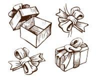 тесемки подарка коробок смычков бесплатная иллюстрация
