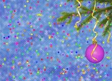 тесемки праздника карточки шарика голубые Стоковое Изображение