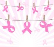 Тесемки рака молочной железы розовые на веревочке Стоковое Изображение RF