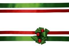 тесемки смычка зеленые красные Стоковое Изображение RF