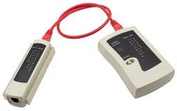 Тестер кабеля сети с кабелем UTP на белой предпосылке Стоковое Изображение