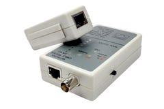 Тестер кабеля сети при удаленный зонд изолированный на белой предпосылке Стоковое Изображение RF