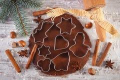 Тесто для печений, специи и ингридиента для печь пряника, концепции времени рождества Стоковые Фото