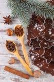 Тесто для печений, специи и ингридиента для печь пряника, концепции времени рождества Стоковое Фото