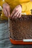 Тесто для пирога тыквы в форме для печь взгляда со стороны Стоковое Изображение RF